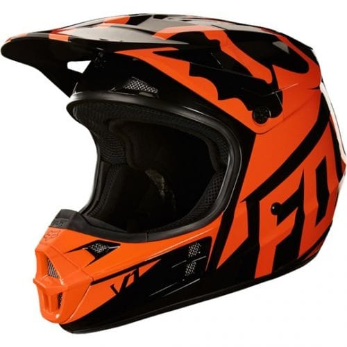 FOX  V1 Race Helmet  Black-Orange