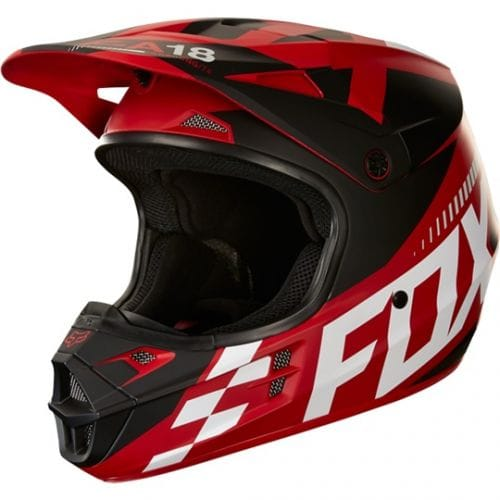 FOX  V1 Race Helmet  Red-Black