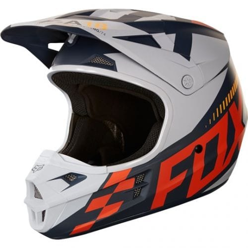 FOX  V1 Race Helmet  Black-Orange-White