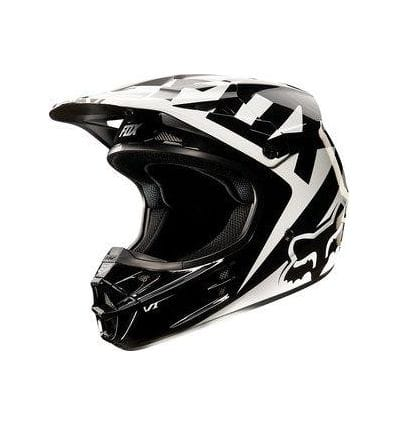 FOX  V1 Race Helmet Black/White